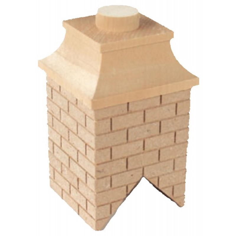Dolls House Square Wooden Brick Chimney DIY Builders
