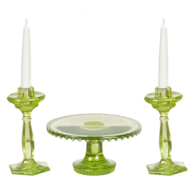 Dolls House Green Cake Stand & Candlesticks Dining Room Accessory