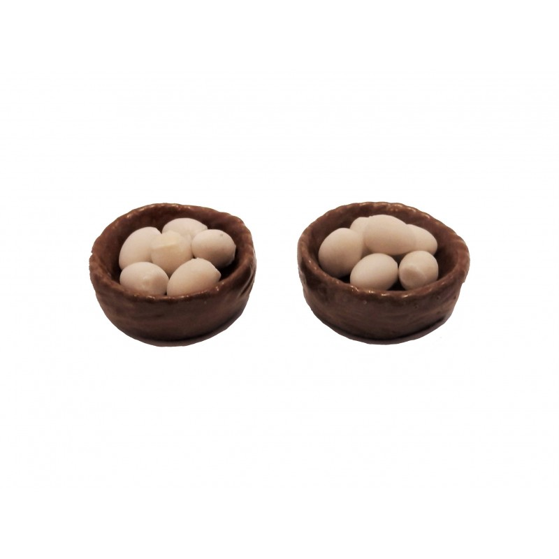 Dolls House 2 Baskets Bowls of Eggs Miniature 1:12 Kitchen Accessory