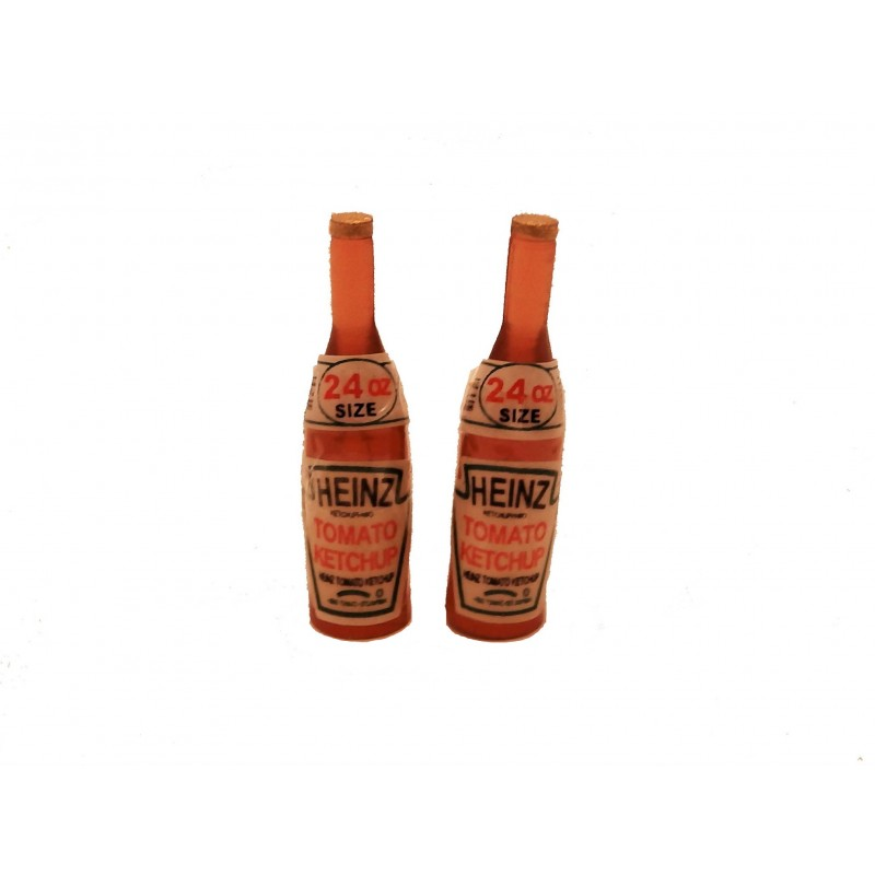 Dolls House Tomato Sauce Ketchup Bottles Kitchen Cafe Accessory