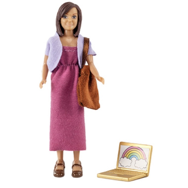 Dolls House Lundby Modern Mum Mother with Laptop & Bag