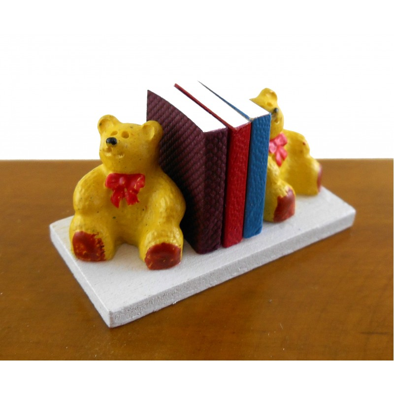 Dolls House Miniature Nursery Toy Shop Accessory Teddy Bear Bookends