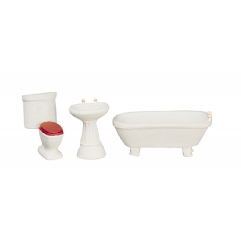 Dolls House Plain White Bathroom Suite Furniture Set 1:24 Half Inch