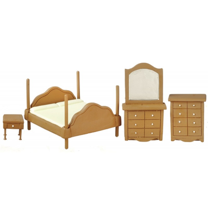 Dolls House Walnut Bedroom Furniture Set Suite 1:24 Half Inch Scale