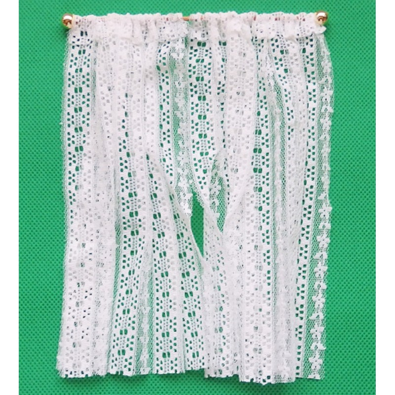 Dolls House White Crochet Lace Curtains Long Window Nets Miniature