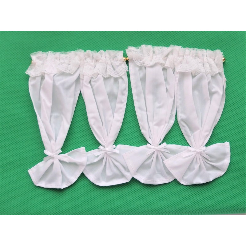 Dolls House 2 Pairs White Drapes Tied Back Miniature 1:12 Curtains