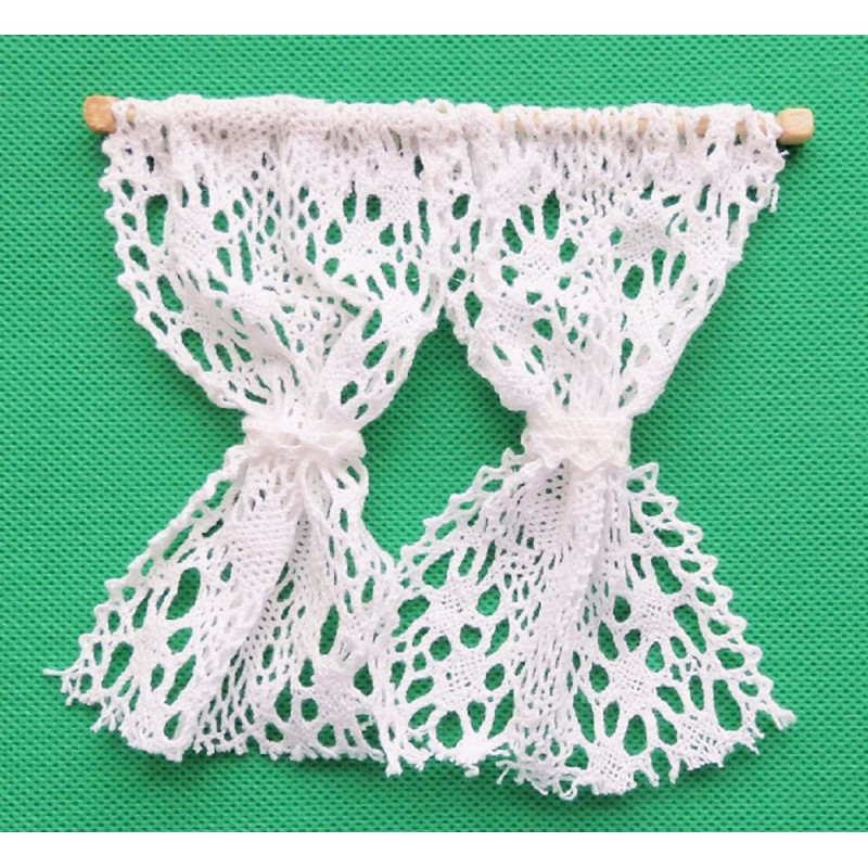 Dolls House White Crochet Lace Curtains Nets 1:12 Window Accessory