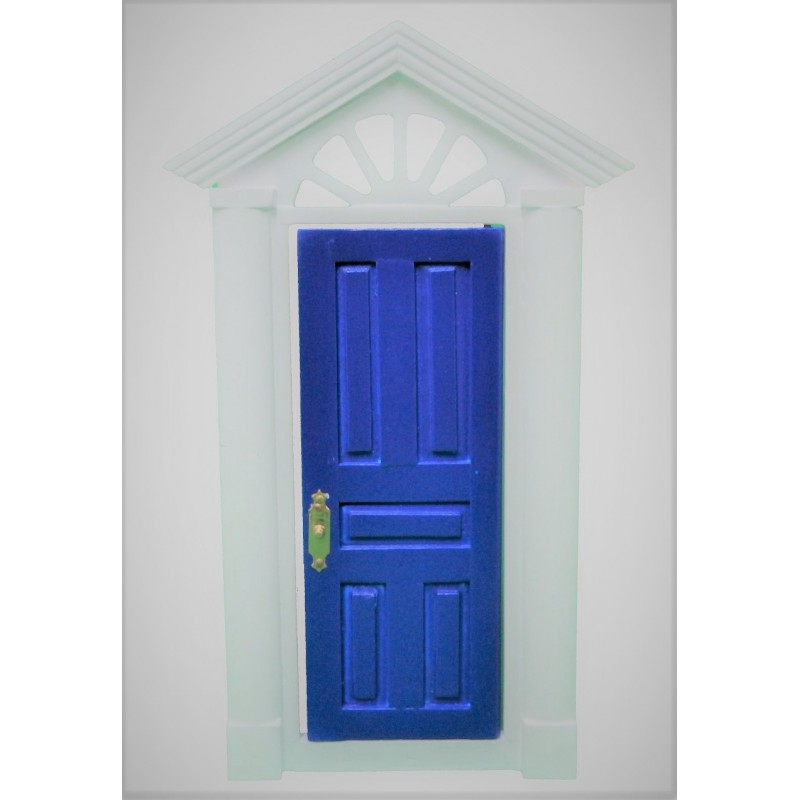 Dolls House Blue Charleston Front Door with Fancy Fanlight 1:12