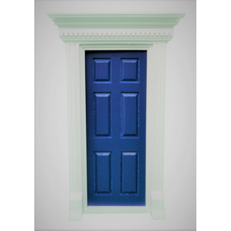 Dolls House Blue Georgian Front Door with Dentil Detail 1:12 Scale