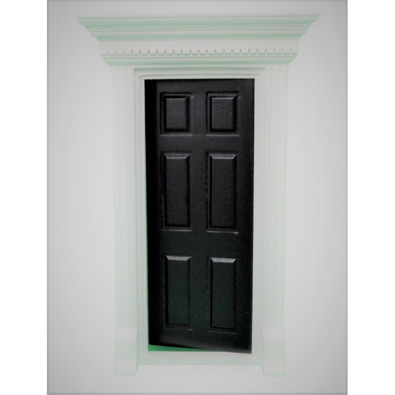 Dolls House Black Georgian Front Door with Dentil Detail 1:12 Scale
