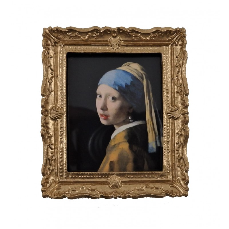 Dolls House Girl in Pearl Earring Portrait Picture in Gold Frame 1:12
