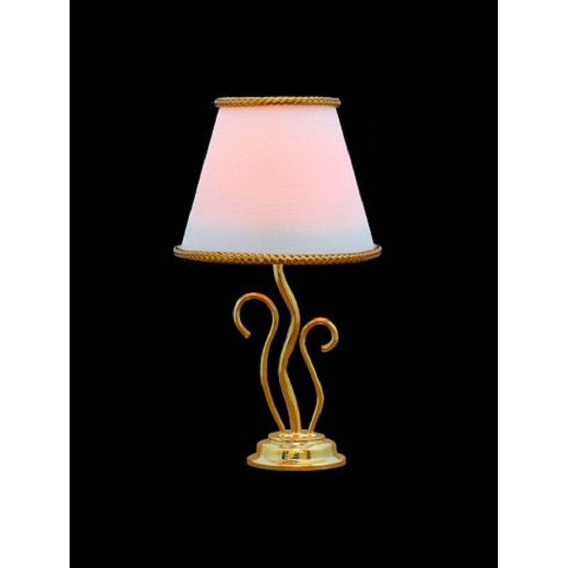 Dolls House Gold Swirl Table Lamp White Shade Fancy Electric Light