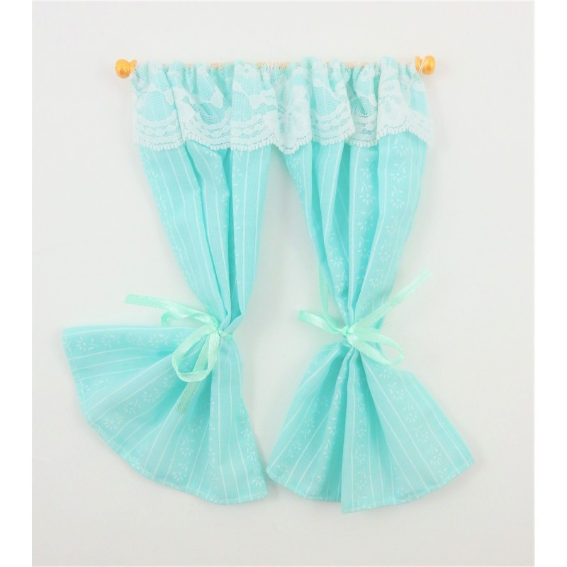 Dolls House Aqua Curtains on Rail Miniature Window Accessory