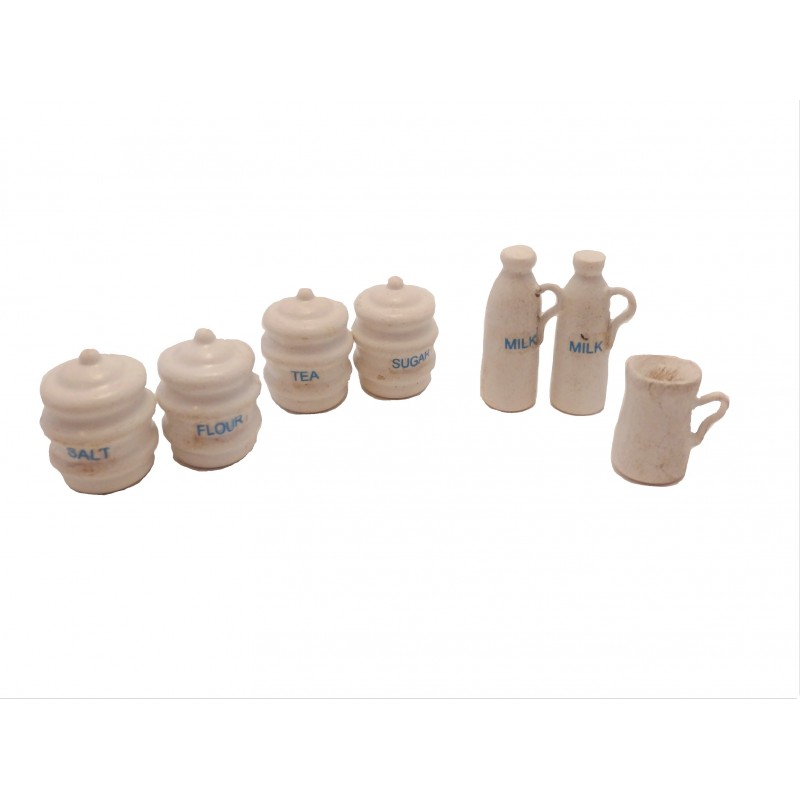 Dolls House White Canister Set Storage Jars & Jugs Kitchen Accessory