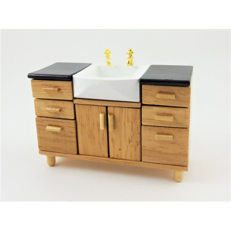 Dolls House Modern Light Oak Sink Unit Miniature Bathroom Furniture
