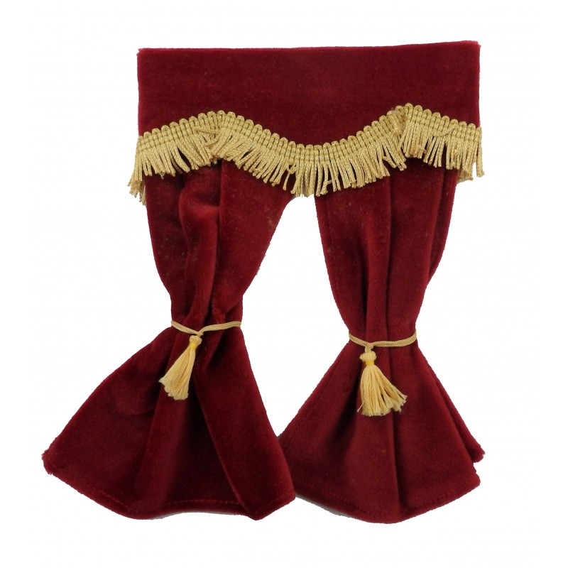 Dolls House Red Velvet Curtains Gold Fringe Window Accessory