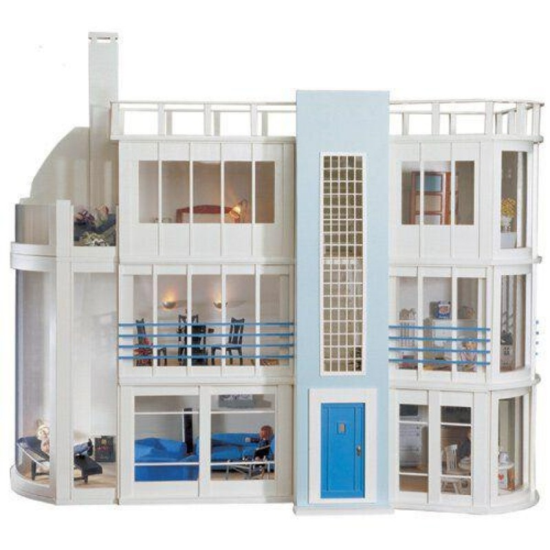 Malibu Beach Modern Art Deco Dolls House Unpainted Flat Pack Kit 1:12 Scale
