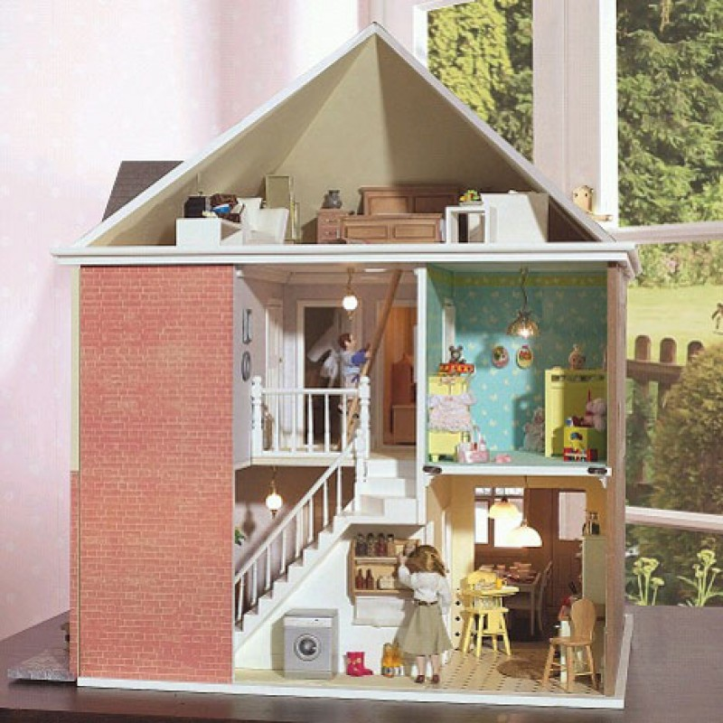 Mountfield 1930's Detached Dolls House Unpainted Flat Pack Kit 1:12 Scale