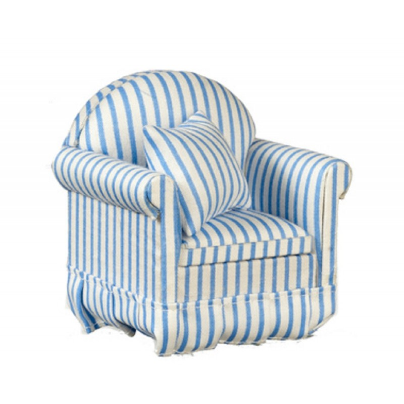Dolls House Modern Blue & White Striped Armchair Miniature Furniture