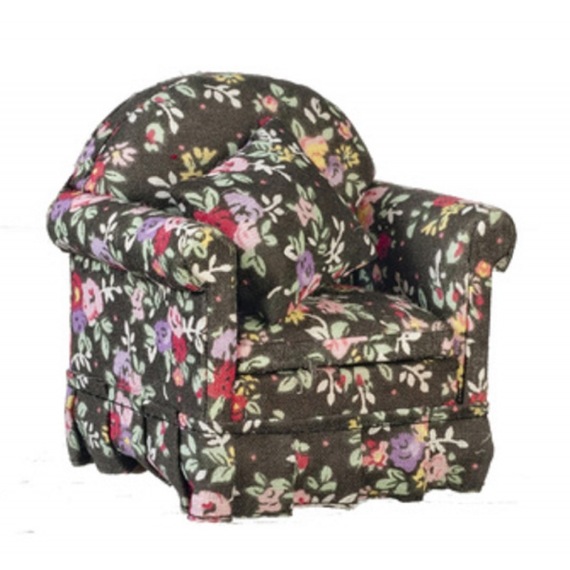 Dolls House Modern Black Floral Armchair 1:12 Living Room Furniture