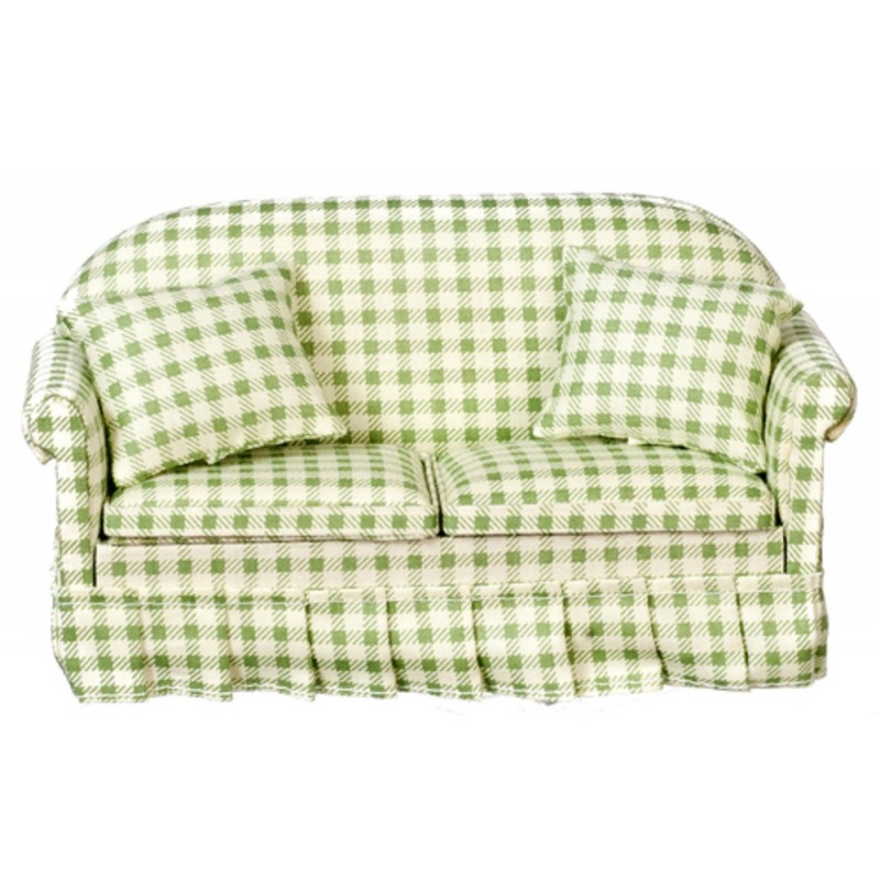 Dolls House Green Gingham Check Sofa Miniature Living Room Furniture