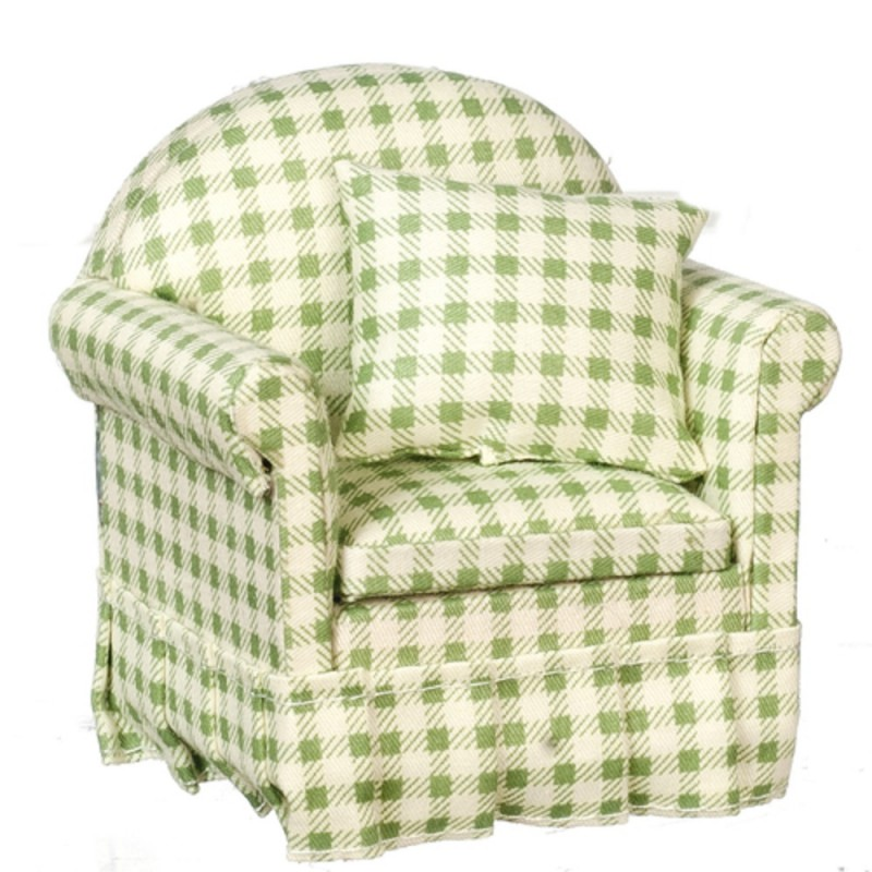 Dolls House Green Gingham Check Armchair 1:12 Living Room Furniture