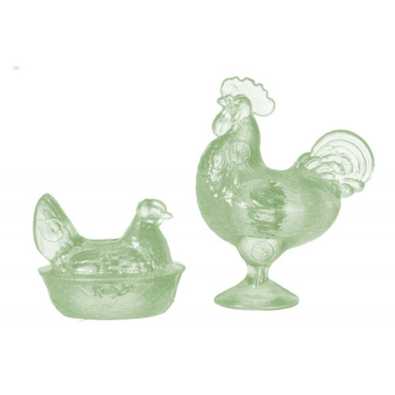 Dolls House Green Rooster & Nesting Hen Chrysnbon Ornaments