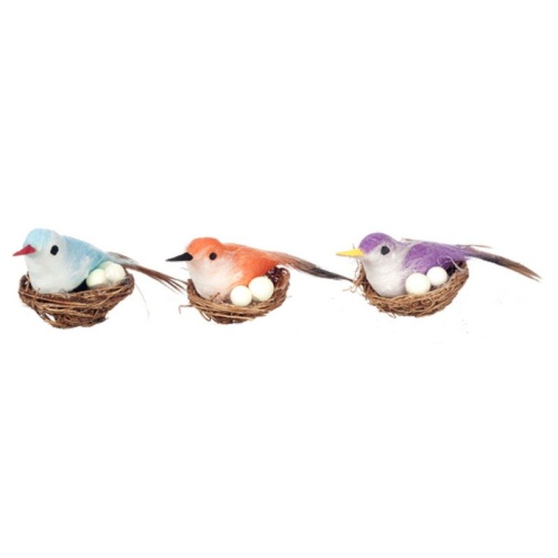 Dolls House 3 Birds in Nests with Eggs Garden Aviary Accessory