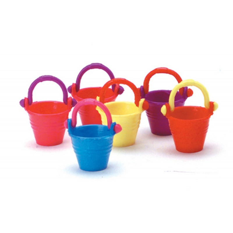 Dolls House 6 Children's Beach Buckets Summer Sand Castle Accessory