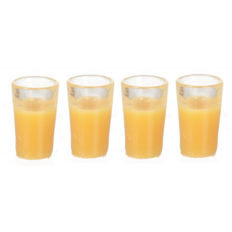 Dolls House 4 Glasses of Orange Juice Miniature Dining Accessory