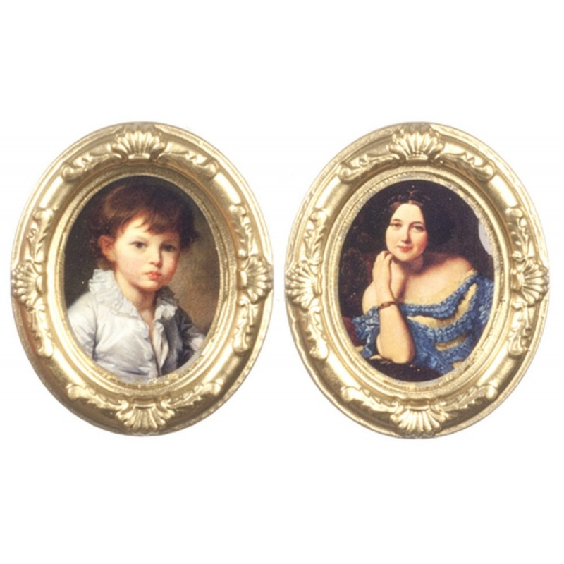 Dolls House 2 Victorian Portrait Pictures in Gold Oval Frames 1:12