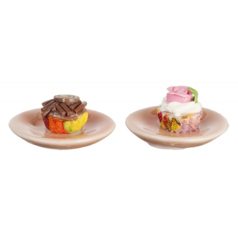 Dolls House 2 Fancy Cup Cake on Plate Cafe Dining Room Accessory