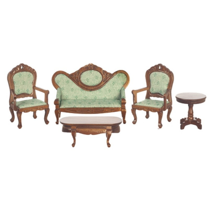 Dolls House Victorian Living Room Furniture Set Walnut & Green
