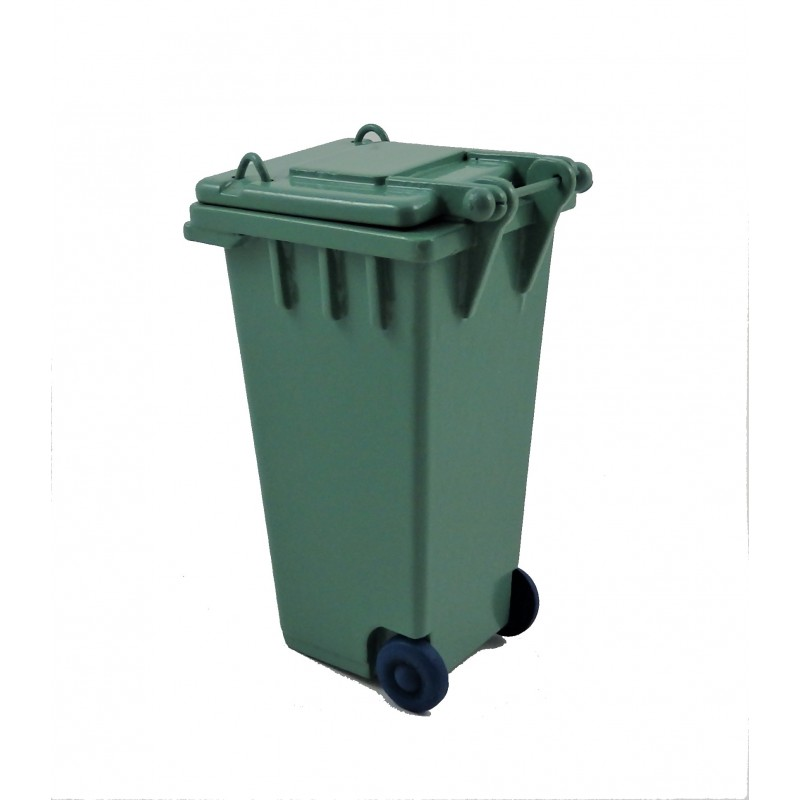 Dolls House Green Wheelie Bin Recycling Garden Street Accessory