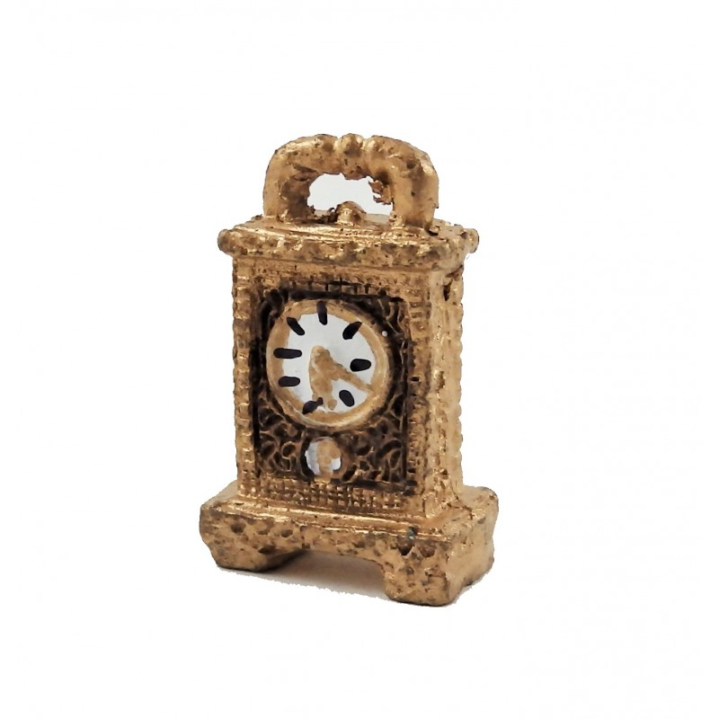 Dolls House Fancy Gold & Black Carriage Clock 1:12 Scale Accessory