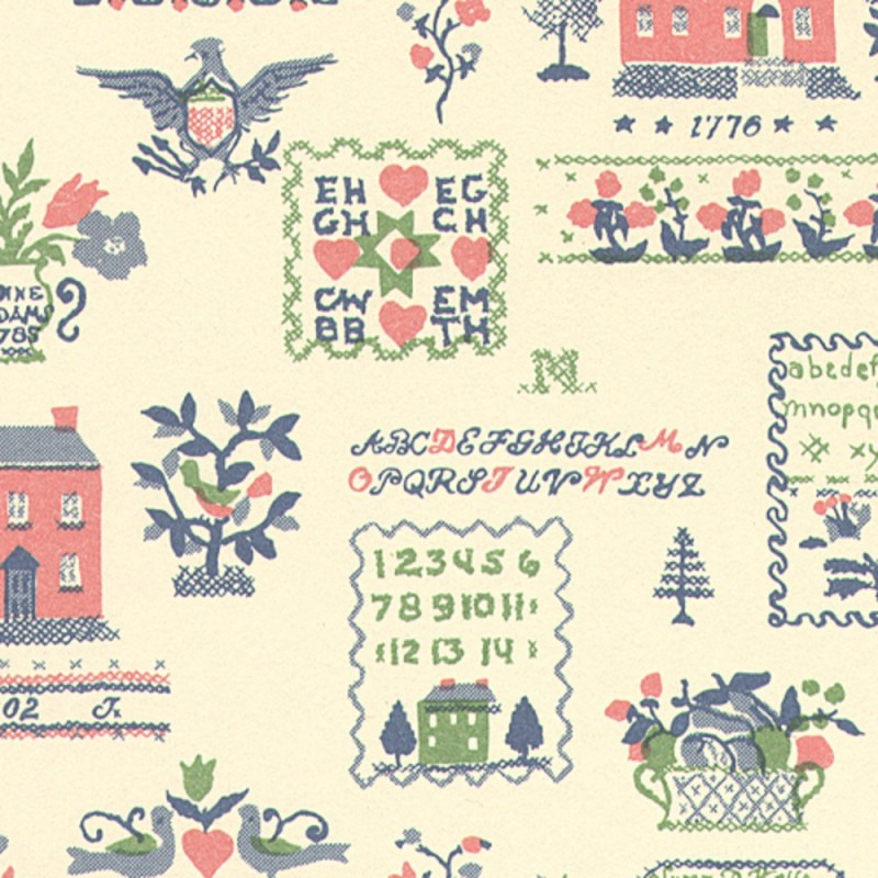 Dolls House Sampler Pink Green Miniature Print Wallpaper 3 Sheets