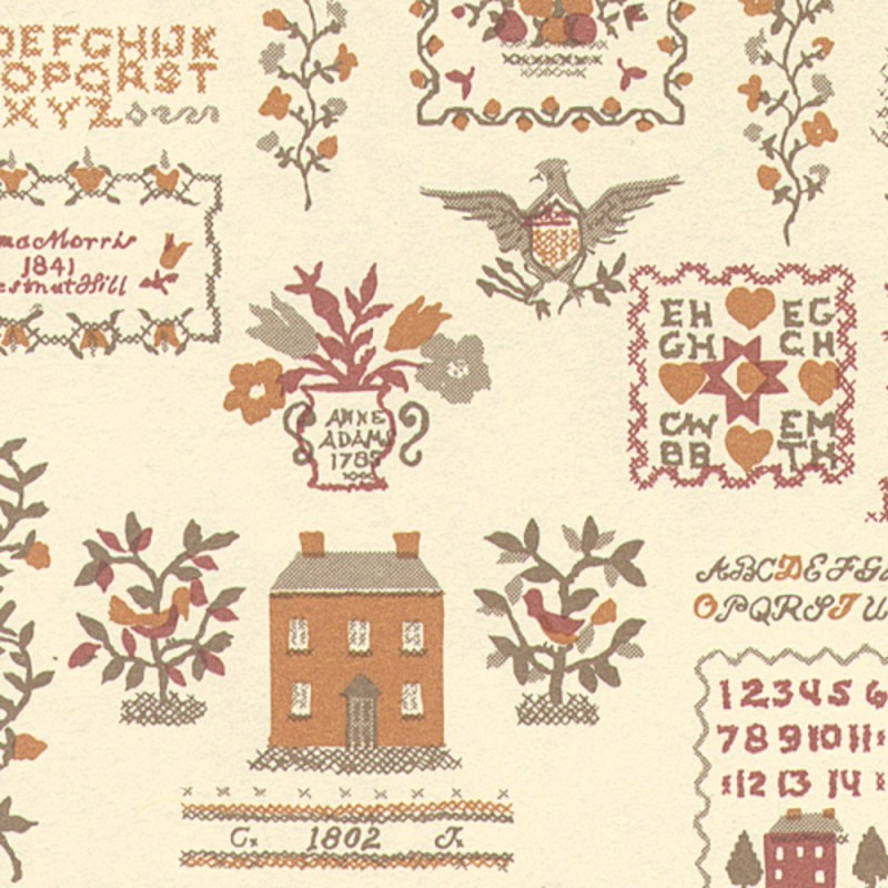 Dolls House Sampler Terracotta Miniature Print Wallpaper 3 Sheets
