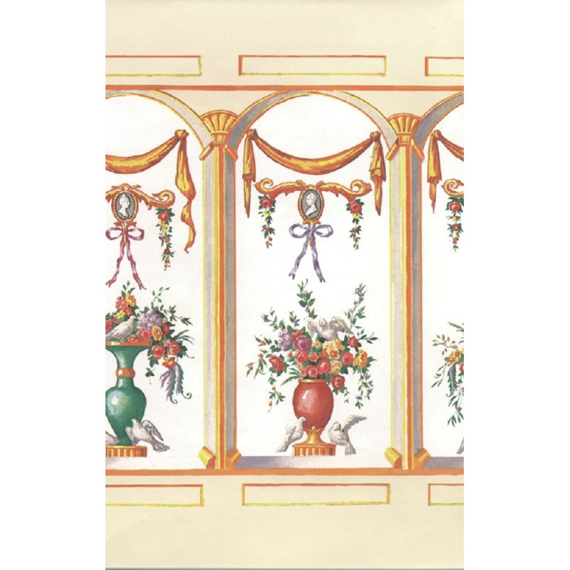 Dolls House French Bouquet Ecru Miniature Print Wallpaper 3