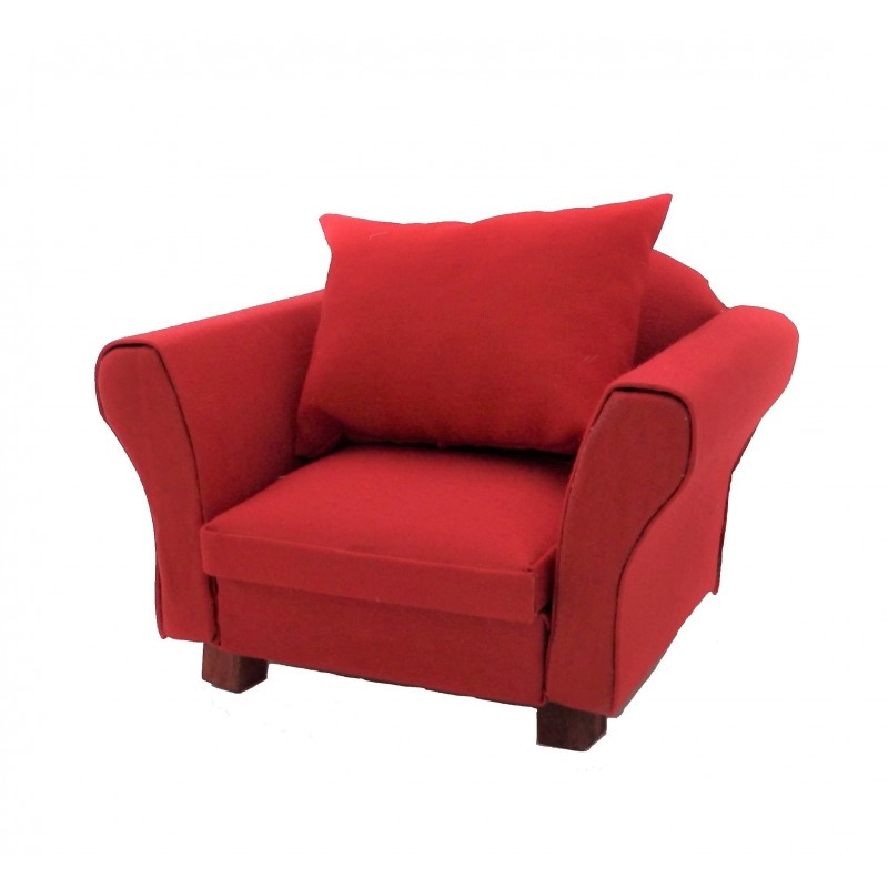 Dolls House Modern Red Armchair with Cushion Living Room Furniture