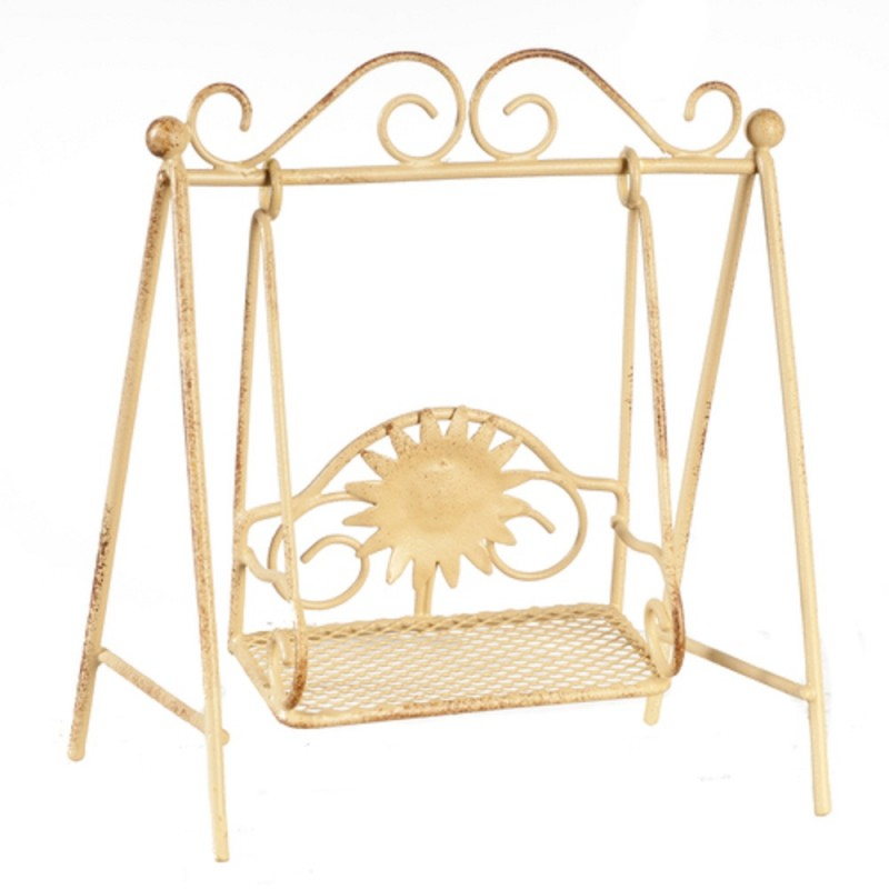 Dolls House Childs Swing Shabby Chic Garden Furniture Cream