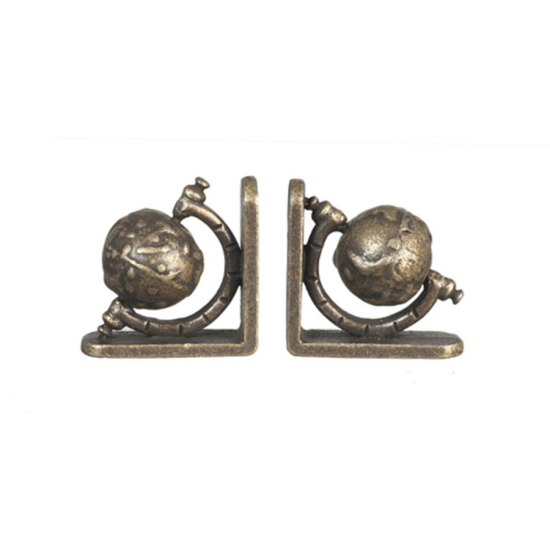 Dolls House Globe Bookends Antique Brass Miniature Study Accessory