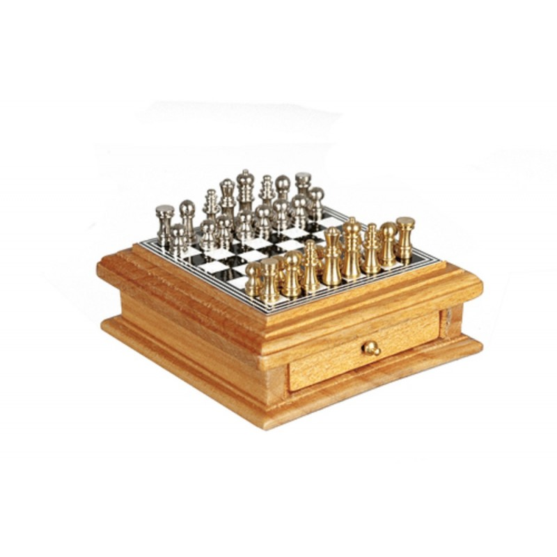 Dolls House Chess Set with Light Oak Storage Drawer Miniature Study