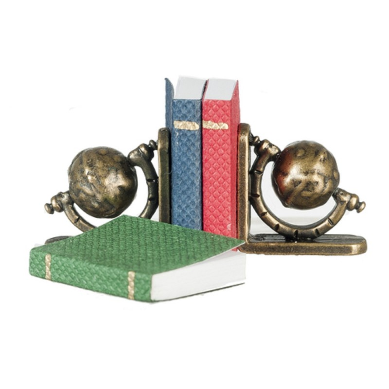 Dolls House Antique Brass Globe Bookends & Books Study Accessory