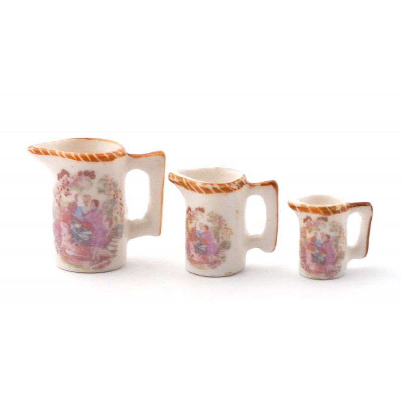 Dolls House Ornamental Jugs with Picture Design Miniature Accessory