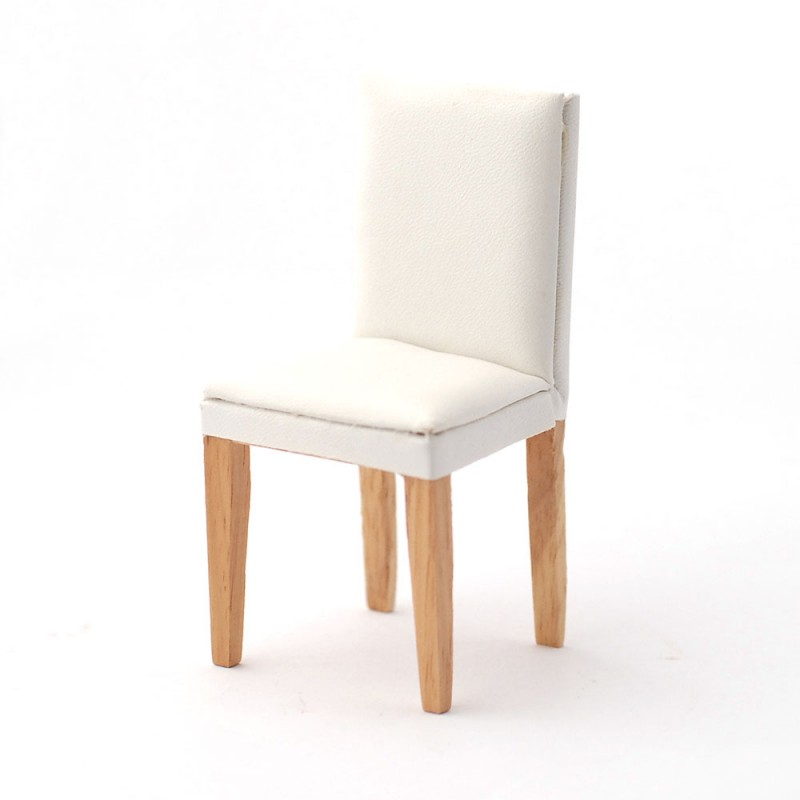 Dolls House White Leather Side Chair Modern Dining Room Furniture