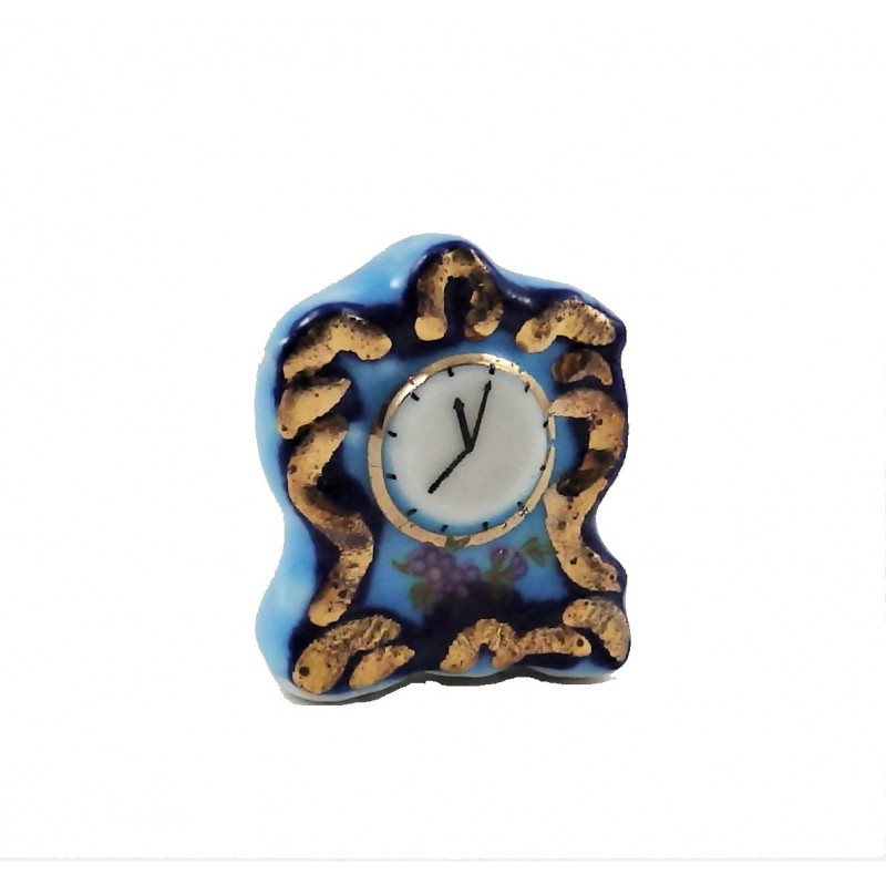 Dolls House Blue Gold Mantle Clock Ceramic 1:12 Scale Accessory
