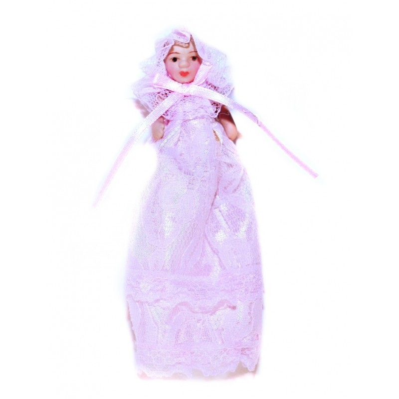 Dolls House Victorian Baby Girl in Pink Christening Gown Miniature
