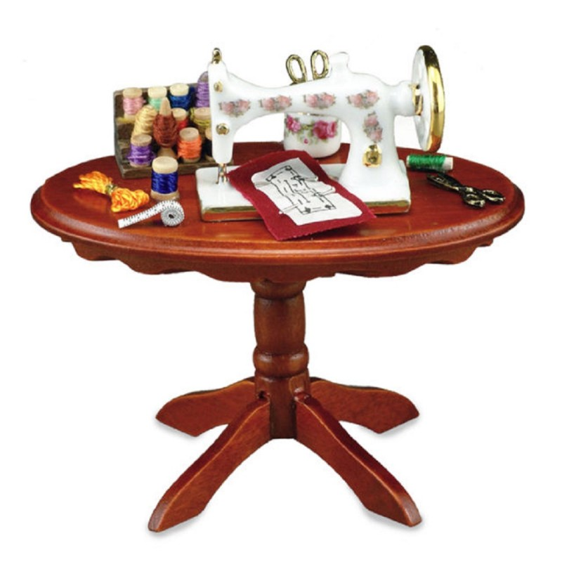 Dolls House Oval Walnut Sewing Table & Accessories Reutter Porcelain
