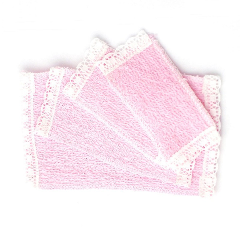 Dolls House 4 Pink Lace Edged Towels Miniature Bathroom Accessory