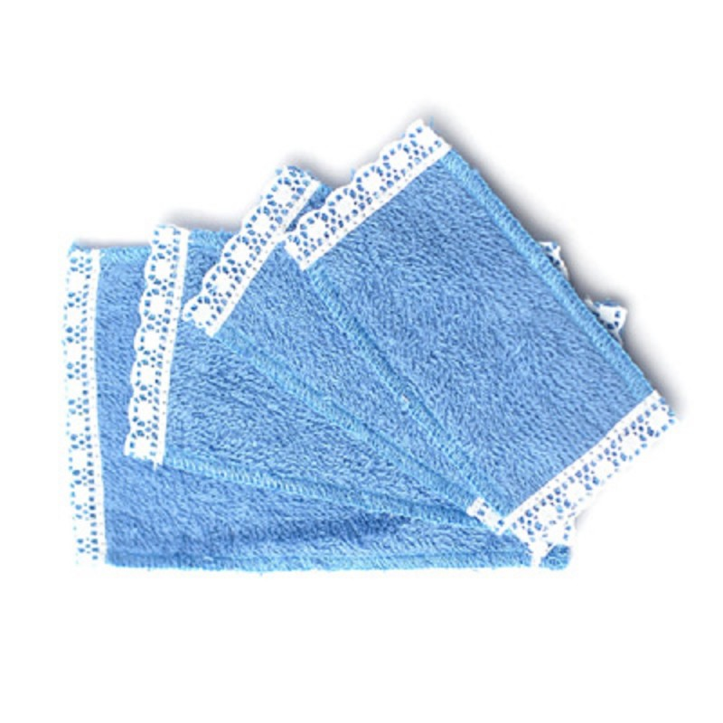 Dolls House 4 Blue Lace Edged Towels Miniature Bathroom Accessory